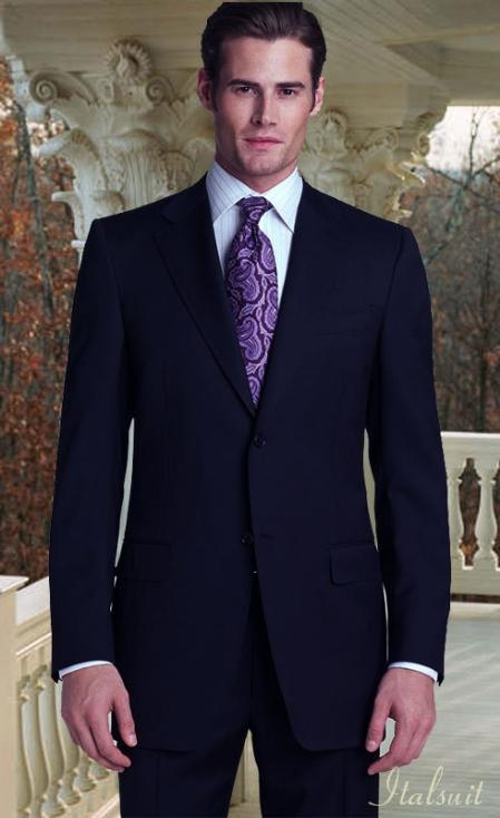 MensUSA.com Classic 2pc 2 button Navy Super 150s With Hand Pick Stitching on Lapel(Exchange only policy) at Sears.com