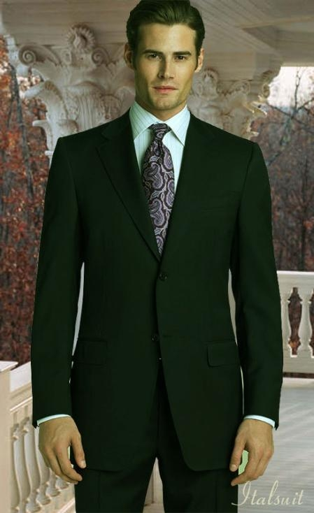 SKU#LV5490 Classic 2pc 2 Button Olive Green Suit 100% Wool Super 150
