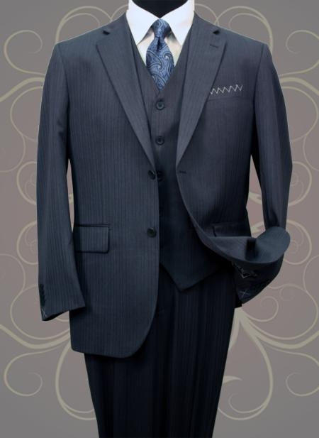 SKU#WJ444 Classic 3PC 2 Button Navy Mens Mini Pinstripe ~ Stripe Vested Side Vents Wool Fabric Notch Lapel three piece suit