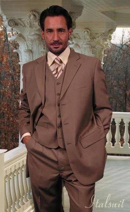SKU#WM5977 Classic 3PC 3 Button Solid Bronze Vested Mens Suit With Flat Front Pants $199