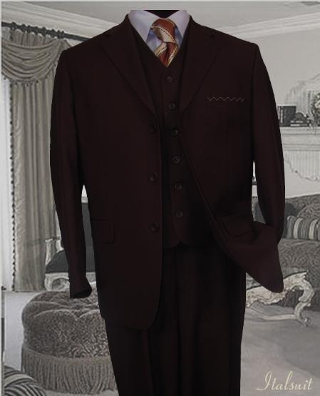 SKU#XZ1460 Classic 3PC 3 Button Solid Brown Vested Mens Suit With Flat Front Pants $199