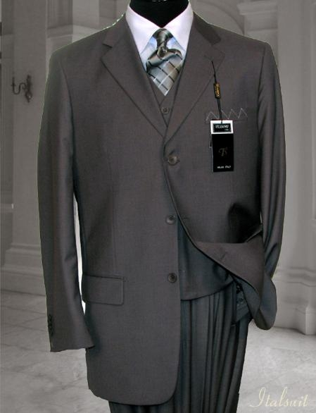 SKU#FV8967 Classic 3PC 3 Button Solid Gray Vested Mens Suit With Flat Front Pants $199