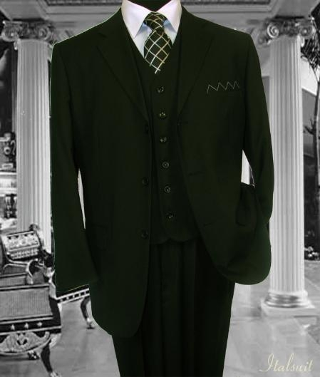 SKU#MN2836 Classic 3PC 3 Button Solid Olive Vested Mens Suit With Flat Front Pants $199