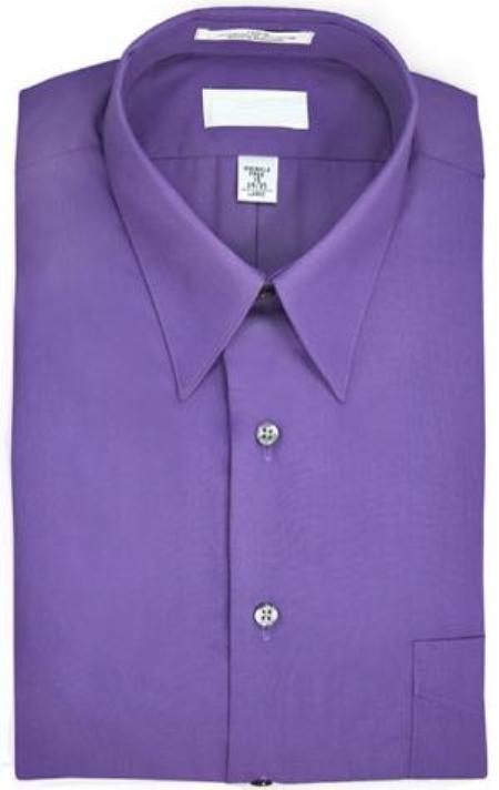 Point collar Wrinkle resistant Poplin fabric, 65% polyester, 15% cotton Purple Dress Shirt $39