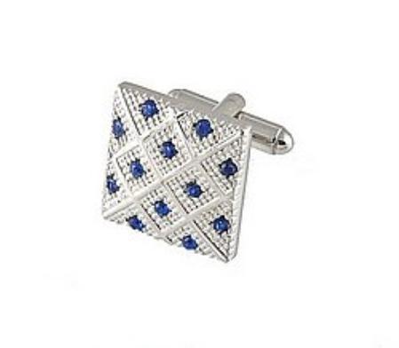 SKU#ZA756 Cufflinks Silver Xk 0042S Blue $39
