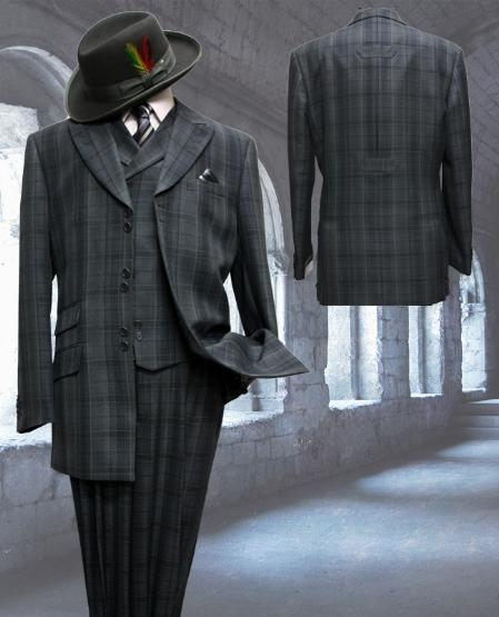 SKU#DG7343 Dark Gray with Pattern 3pc Fashion Zoot Suit $500