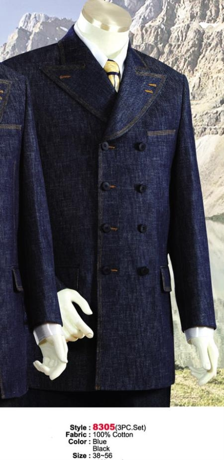 SKU#MU4545 Denim Cotton Fabric Suit Style comes in Black or Blue