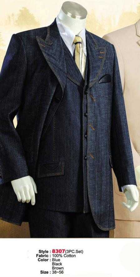 SKU#MU1122 Denim Cotton Fabric  Suit Style comes in Blue or Black or Brown $199