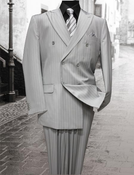 SKU#AW1221 Double Breasted Color Ash Mens Suit With Pinstripe $179