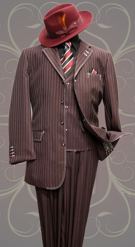 SKU#FF1989 Eggplant Tone on Tone 3pc Fashion Zoot Suit $169