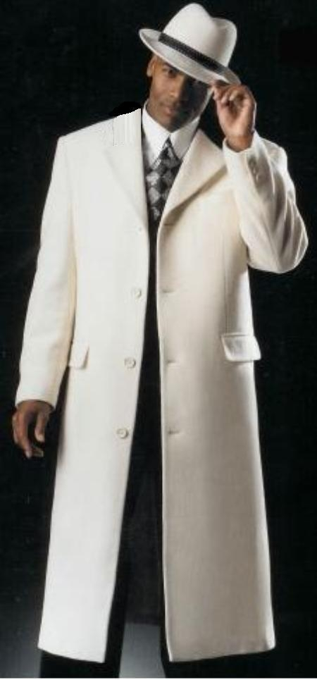 SKU#Coat04 Elegant 3 Button Overcoat with Peak Lapels Ivory Cream OFF White $199