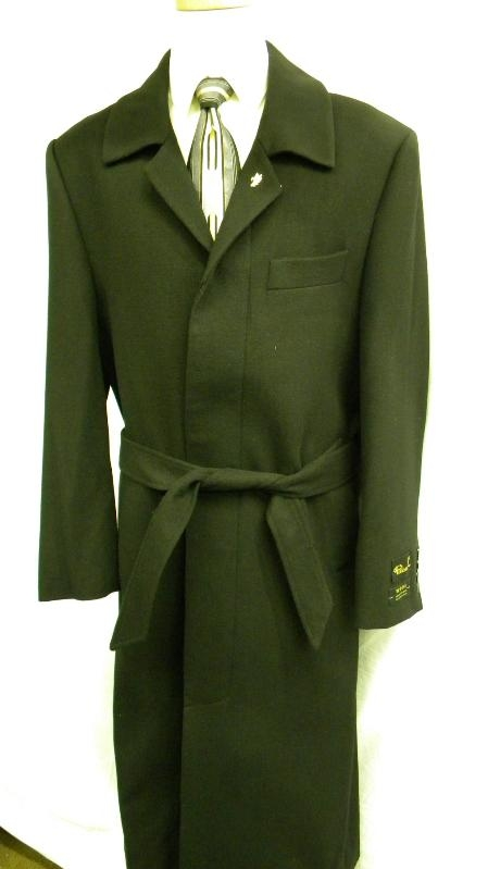 SKU#WB9302 Elegant 55 3 Button Overcoat with Peak Lapels Olive Green (dark) $149