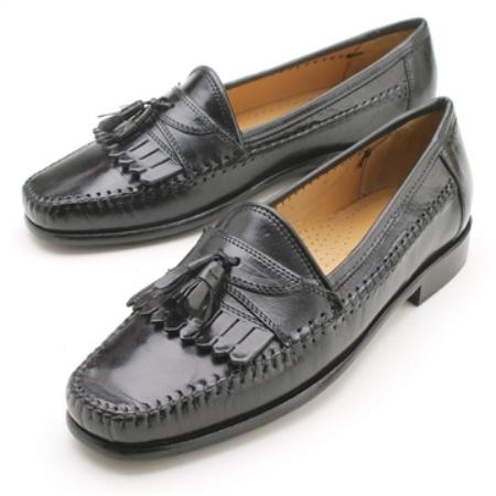 SKU# BCM Elegant Leather Slip-On Black Moccasin with Luxurious Tassel and Kilts $99