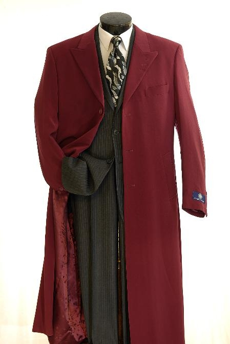 SKU#Coat0040 Elegant Mens Full Length Top Coat Burgundy $135