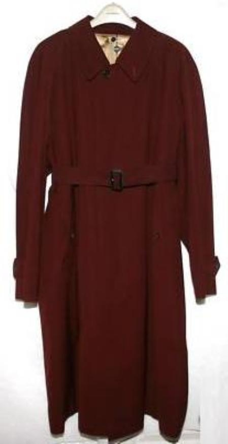 SKU#HO2812 Elegant Mens Overcoat Burgundy ~ Maroon ~ Wine Color $149