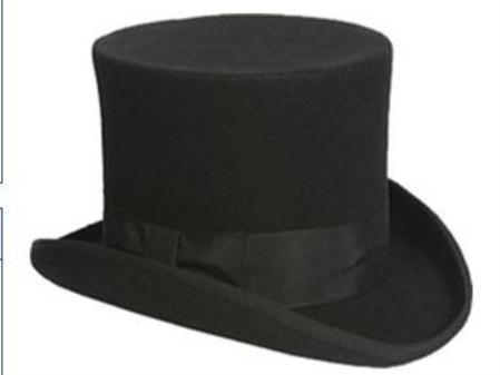 Sku#TP1 elegant mens Black or Gray 100% Wool top hat