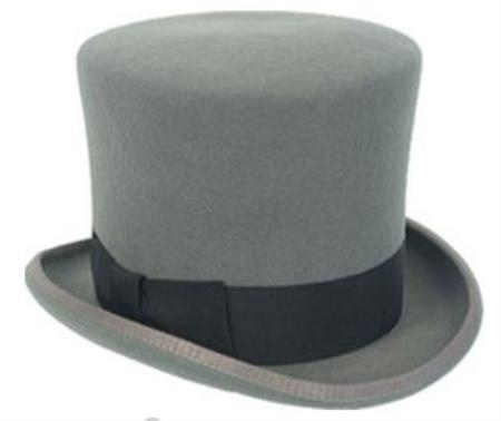 Sku#TP1 elegant mens Gray Wool top hat