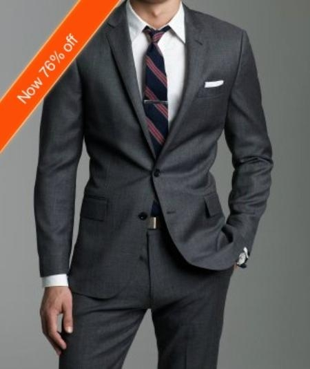 SKU#JK2892 European Slim Fitted Charcoal Gray ~ Grey Suit In 2-Button Pick Stitched Lapel wool Italian Made