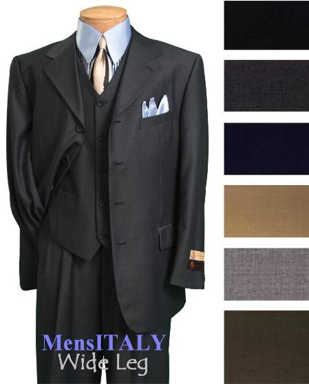 MensUSA.com Exclusive Stunnig Available in 3 Button Style Jacket 3 Piece Vested Wide Leg Pants Comes in 6 Colors (Exchange only policy) at Sears.com