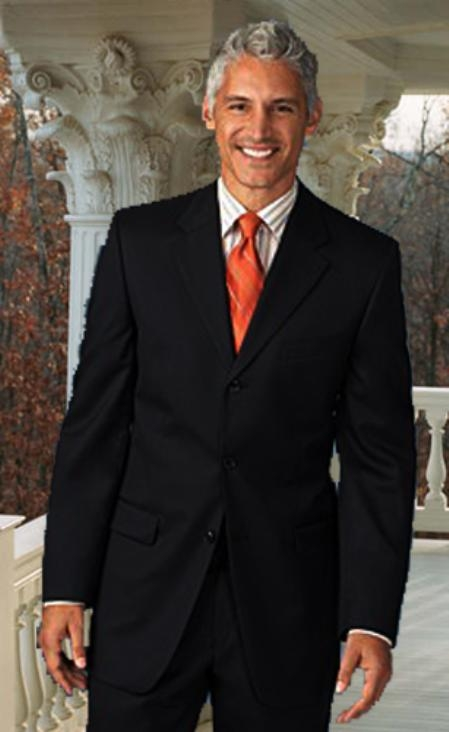 MensUSA.com Extra Long 2PC Solid Color Black Mens Suits in Super 150s Extra Fine Wool(Exchange only policy) at Sears.com