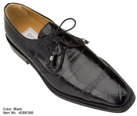 SKU#YP4089 Ferrini Black Genuine Alligator/Eel Shoes $699