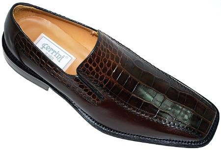 SKU#YV463 Ferrini Brown Genuine Alligator Shoes $950