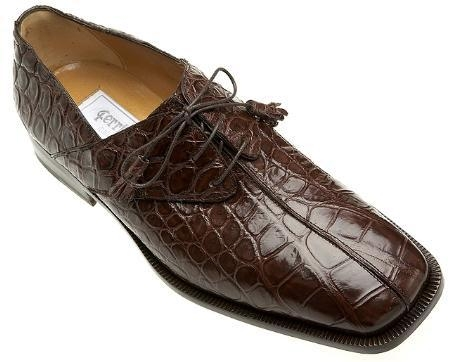 SKU#UG848 Ferrini Chocolate All-Over Genuine Alligator Shoes