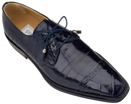 SKU#NV803 Ferrini Navy Genuine Alligator/Eel Shoes