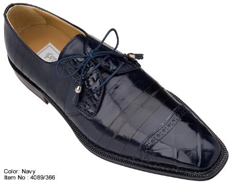 SKU#MQ9473 Ferrini Navy Genuine Alligator/Eel Shoes $699