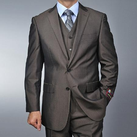 SKU#RA3692 Fiorelli Mens Brown Teakweave 2-button Vested three piece suit $185