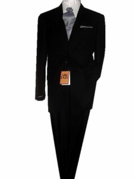SKU#GU2099 Fitted Discounted Sale Slim Cut 2 Btn Black Super 150's 100% Virgin Wool