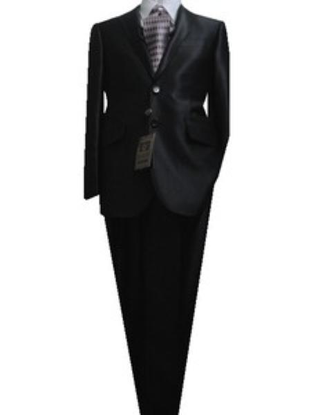 SKU#GU1156 Fitted Discounted Sale Slim Cut 2 Btn SLIM FIT SLIM Notch Lapel Jet Black Sharkskin Suit $125