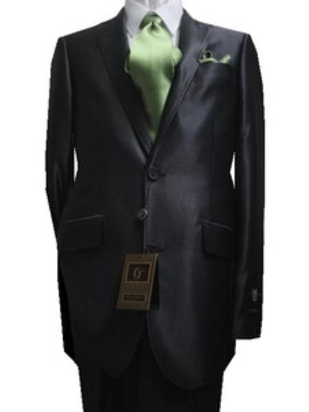 SKU#GU2266 Fitted Discounted Sale Slim Cut 2 Btn SLIM FIT & SLIM Peak Lapel Shiny Charcoal Sharkskin $139