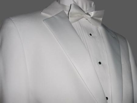 SKU#NF1149 Fitted Tailored Slim Cut 2 Btn White Mens Tuxedo with Non Pleated (Flat Front) Pants $275