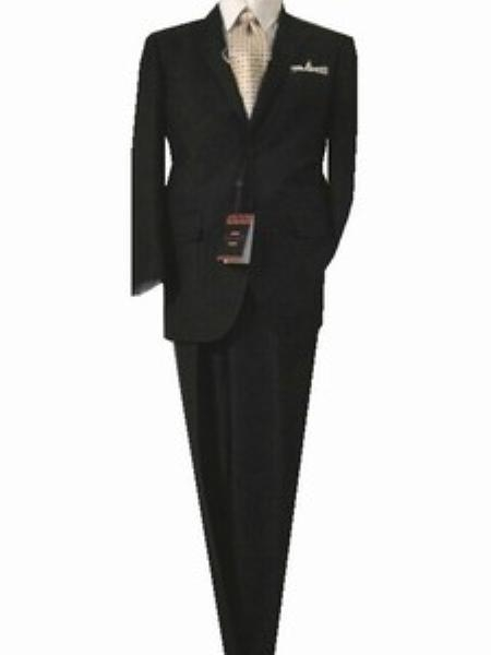 SKU#GU3596 Fitted Tailored Slim Cut 2 Button Black Bird