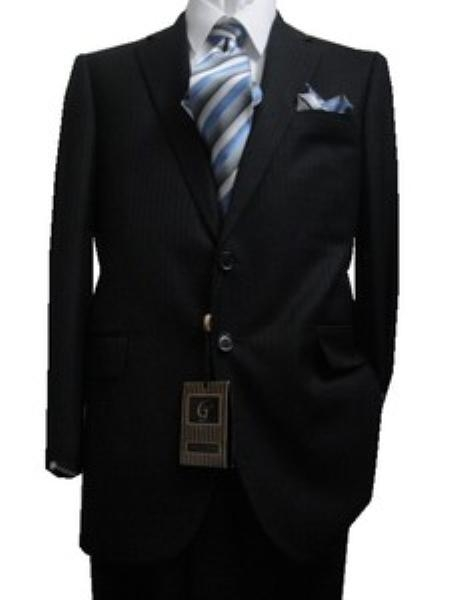 SKU#GU1113 Fitted Tailored Slim Cut 2 Button Black Hidden Stripes Men