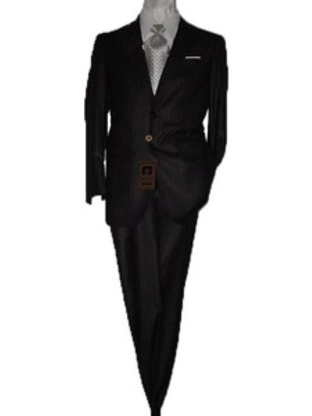 SKU#GU1422 Fitted Discounted Sale Slim Cut 2 Button Black with Gray Pinstripes Mens Suit