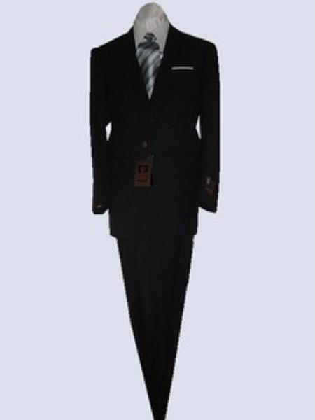 SKU#GU1992 Fitted Discounted Sale Slim Cut 2 Button Black with Thin Stripes Mens Suit $139