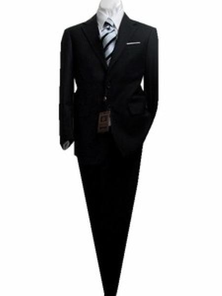 SKU#GA2008 Fitted Discounted Sale Slim Cut 2 Button Black with Tone on Tone Stripe ~ Pinstripe Mens Suit $189