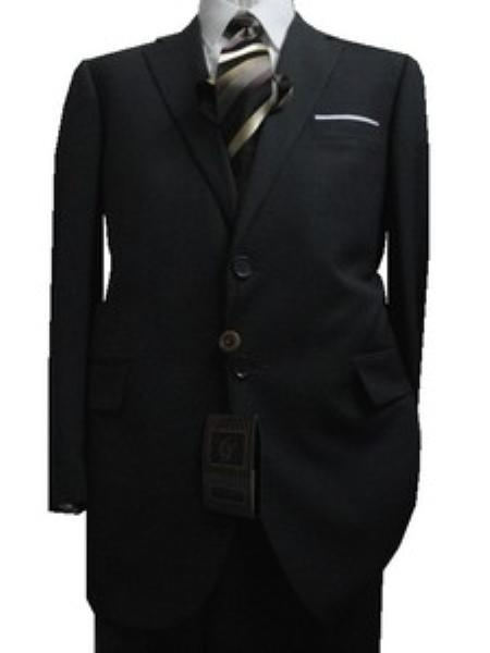 SKU#GU1893 Fitted Tailored Slim Cut 2 Button Charcoal with Thin Light Gray Pinstripes Mens Suit $139
