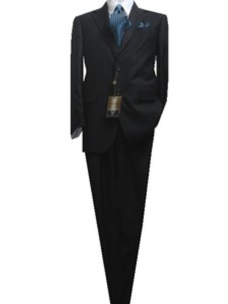 SKU#GU2555 Fitted Tailored Slim Cut 2 Button Dark Navy with Blue Pinstripes Milano-Italy $139
