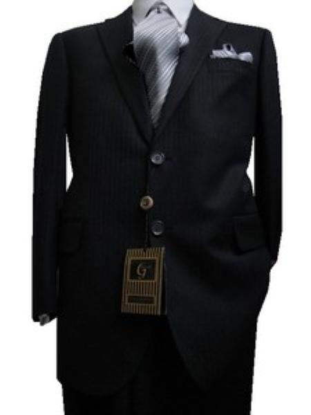 SKU#GU2325 Fitted Tailored Slim Cut 2 Button Dark Navy with Hidden Stripes Mens Suit $139