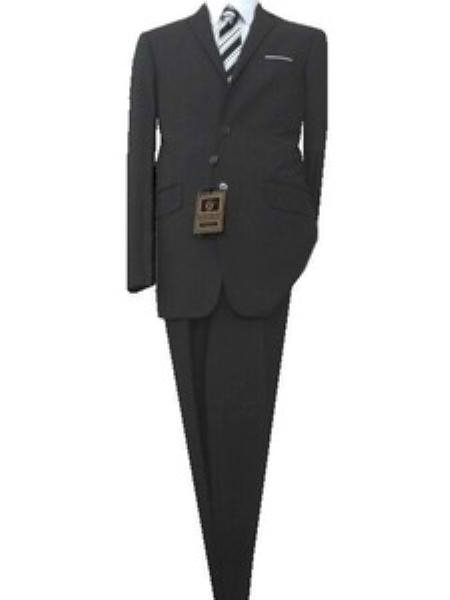 SKU#GU1929 Fitted Tailored Slim Cut 2 Button Euro Slim Dark Gray Teakweave Mens Suit $139