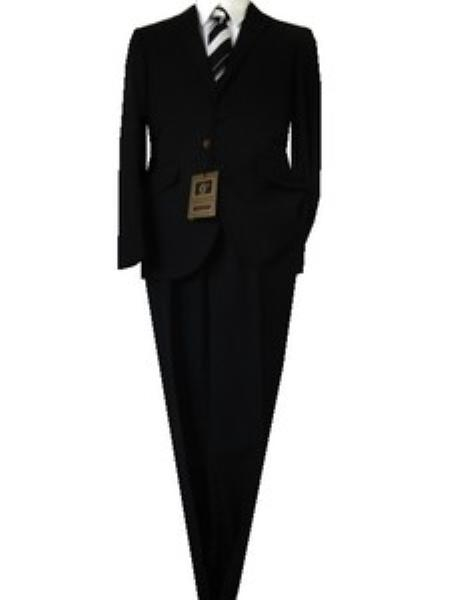 SKU#GU5896 Fitted Discounted Sale Slim Cut 2 Button Euro Slim Solid Black Mens Suit $139