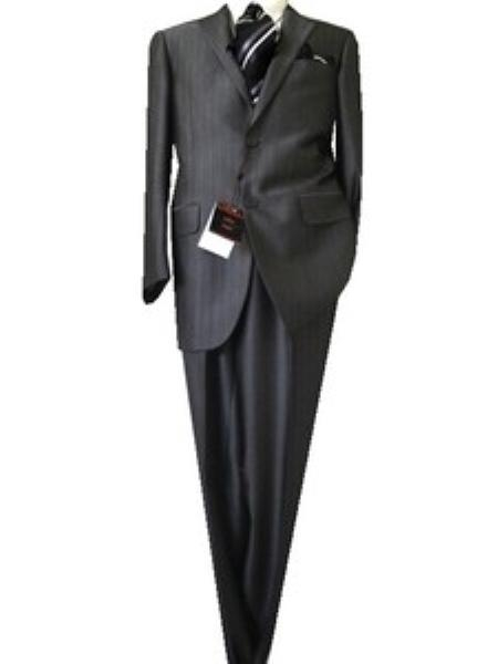 SKU#GA4865 Fitted Tailored Slim Cut 2 Button Gray Herringbone Mens Suit $139