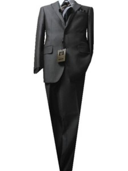 SKU#GU4452 Fitted Discounted Sale Slim Cut 2 Button Light Brown Birds Eyes Mens Suit $189