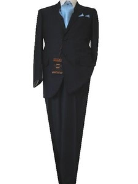 SKU#GU2556 Fitted Discounted Sale Slim Cut 2 Button Navy Blue Birds Eye Mens Suit