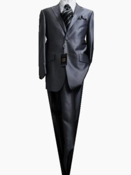 SKU#GU2587 Fitted Discounted Sale Slim Cut 2 Button Shiny Solid Medium Gray Mens Suit $139