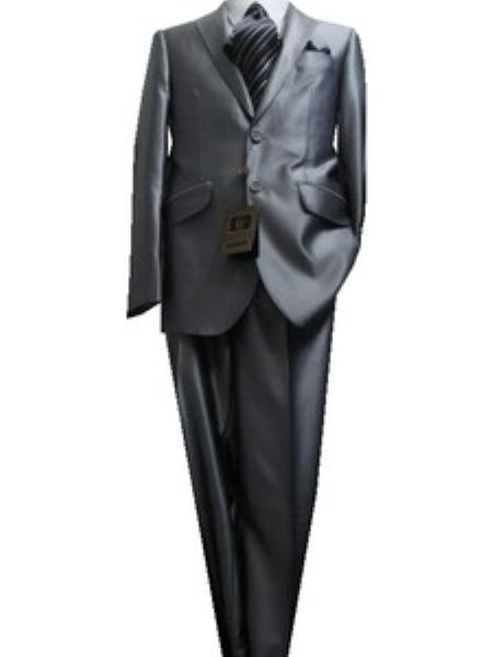 SKU#GU2897 Fitted Tailored Slim Cut 2 Button Shiny Flashy Metallic Slim Fit & Slim Notch Lapel Silver Sharkskin Suit $189