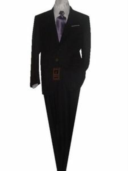 SKU#GU2012 Fitted Discounted Sale Slim Cut 2 Button SLIM FIT & SLIM Notch Lapel Solid Black Mens Suit $125